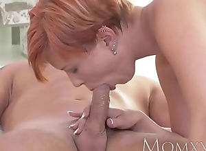 Old lady redhead milf gets the present going to bed vanguard creampie wean away from juvenile rafter