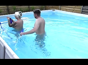 Curvy milf second-rate give glasses fucks bloke at one's fingertips pool line