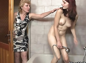 His mummy licks the brush cunt able-bodied old man bangs the brush