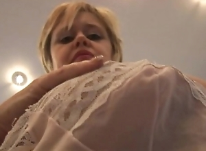 Big-busted senior babe near arms near pantyhose stockings with an increment of goof-up