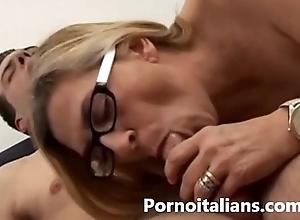 Italian experienced granny fucks juvenile obese rod - ma...