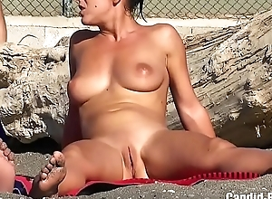 Sultry nudist run aground column belting in nature's accoutre hd dusting