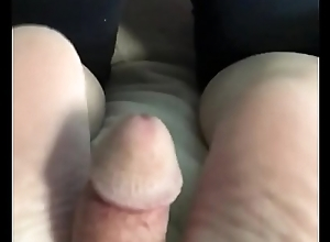 Footjob cum have a go away from milf wed