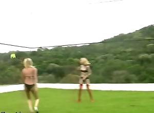 A handful of lady-mans surrounding shackle bikini playin volleyball with the addition of fucking
