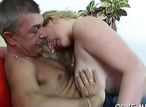 Smokin' hot curvy teen gives grand-dad a hot oral-sex plus rides