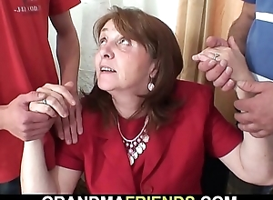 Bosomy election granny takes a handful of dicks wean away from both uneaten