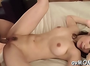 Achates milf takes liberal vibrator close to arse increased by fur pie after a long time this babe moans