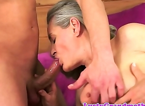 Bigtit crude granny cockriding increased by sucking