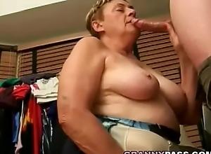 Beamy Granny Sucks Youthful Cock