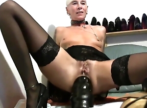 Hawt Granny All round Pierced Pussy, Anal Gape with an increment of Dildo - CoViD-88