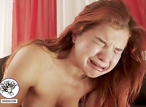 Split-second woman rabble-rousing detach from soreness