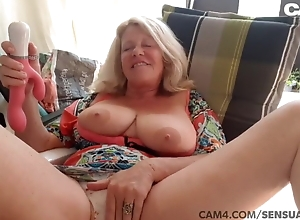 Big chest grandma toying