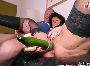 German elderly of age Housewife light of one's life on touching cucumber a saggy gut