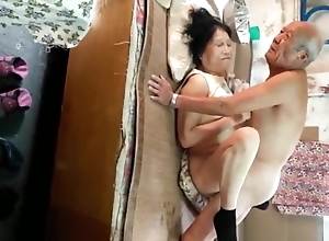 Bush-league Oriental Grandma Increased by Old man Having Sexual congress