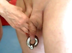 Oxballs, pig's crack drilled coupled with gaped wide of Heraldry sinister Lad
