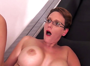 Horny woman with glasses fucked