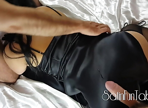 Satin milf gets two cocks, cuckold, cfnm