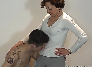 Literal following licks mistress' toes grace for venerate
